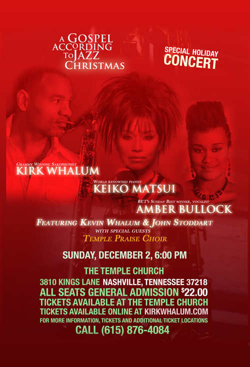 Kirk Whalum saxophonist and composer featuring Keiko Matsui and Amber Bullock